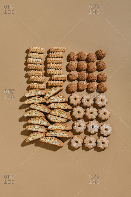 Looking down on four varieties of Italian cookies