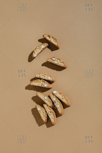 Top down view of scattering of cantuccini cookies