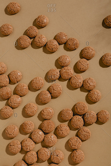 Overhead view of random scattering of amaretti cookies