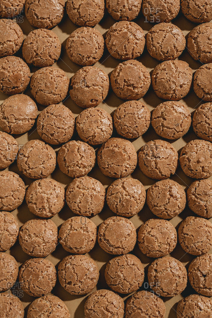 Close up overhead view of rows of amaretti cookies