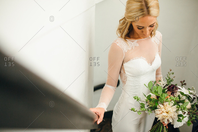 High angle bridal portrait on staircase