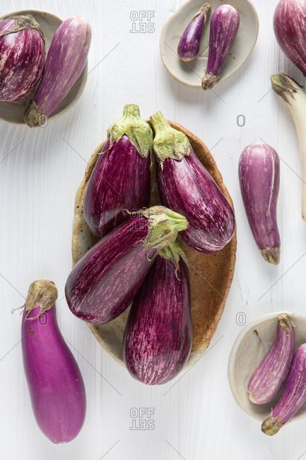 Eggplants on a white table