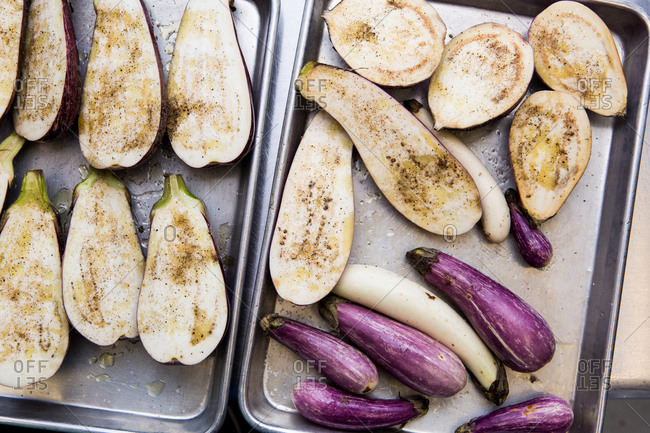Eggplants on a baking dish