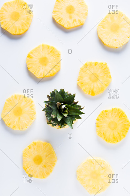 Overhead view of pineapple slices