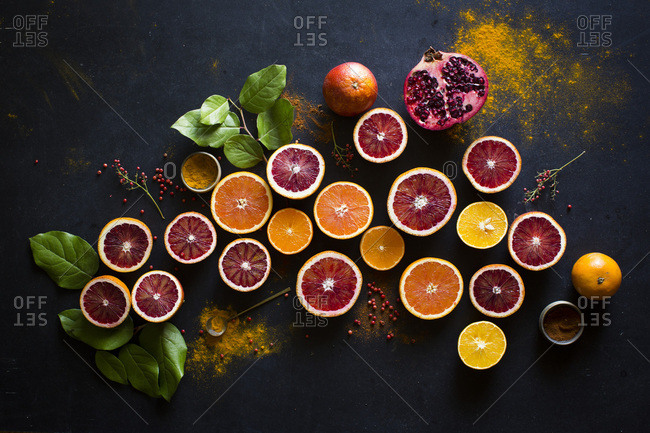 Variety of fruits on dark background