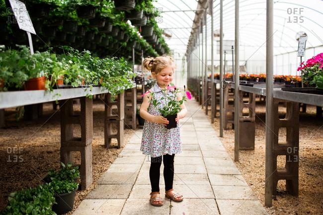 Little girl holding flowers in a garden center