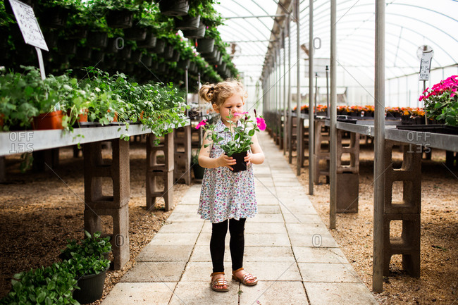 Young girl holding flowers in a garden center