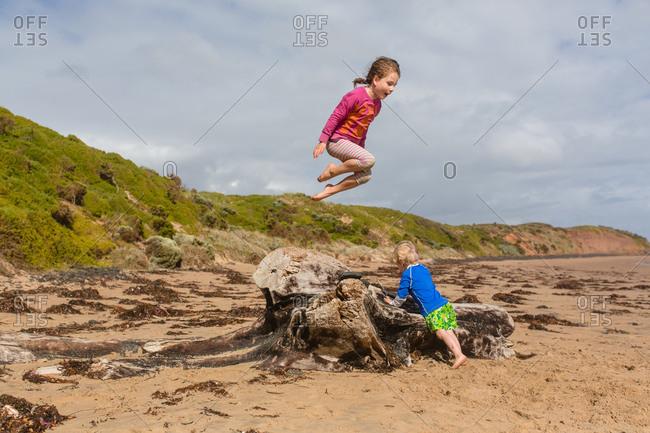 Kids jumping off driftwood at beach