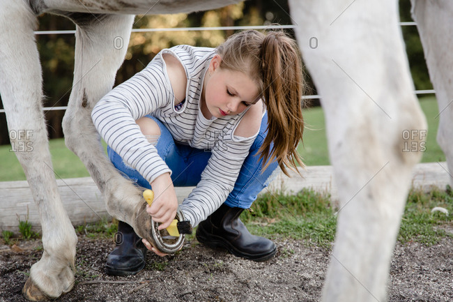 Girl cleaning horse hoof