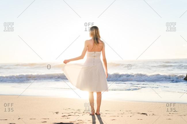 Wonderful tender bride in sunlight