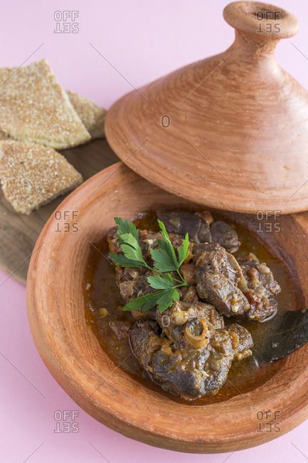 Typical moroccan lamb tajine with mint. Homemade. Arabic cuisine