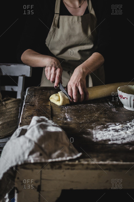 Woman making sweet pastry