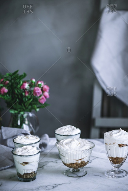 Sweet desserts on table