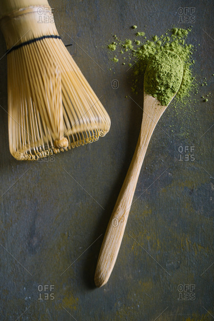 Bamboo scoop and whisk with matcha tea