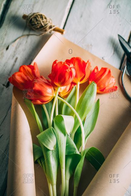 Red tulips arrangement