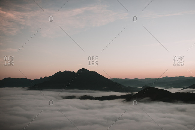 Clouds near mountain peaks