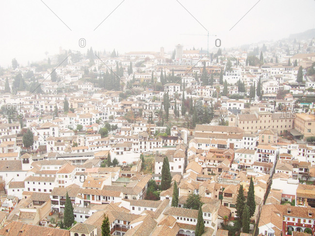 View of the rooftops of Granada, Spain, from the Alhambra