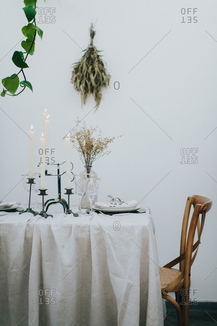 Modern wedding reception table setting for two