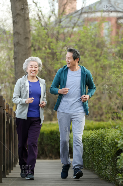 The old couple jogged out in the open