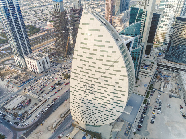 January 25, 2017: Aerial view of curved design skyscraper in Dubai, United Arab Emirates.
