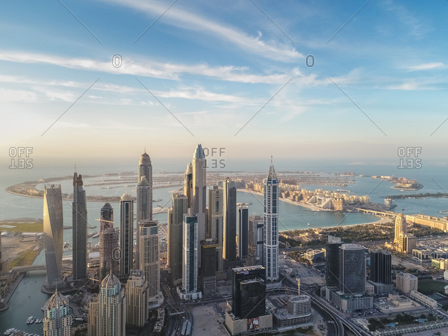 February 5, 2017: Aerial view of skyscrapers and the Palm Jumeirah in background in Dubai, United Arab Emirates.