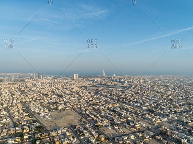 Aerial view of Al Barsha suburb in Dubai, United Arab Emirates.
