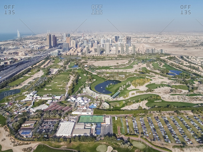 Aerial view of Al Barsha suburb in Dubai, United Arab Emirates.