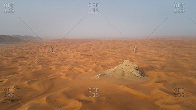Aerial view of the Camel Rock Desert Safari in UAE.