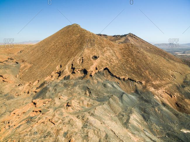 Aerial view of Caldera de Gairia volcano cone in Fuerteventura, Canary Islands.