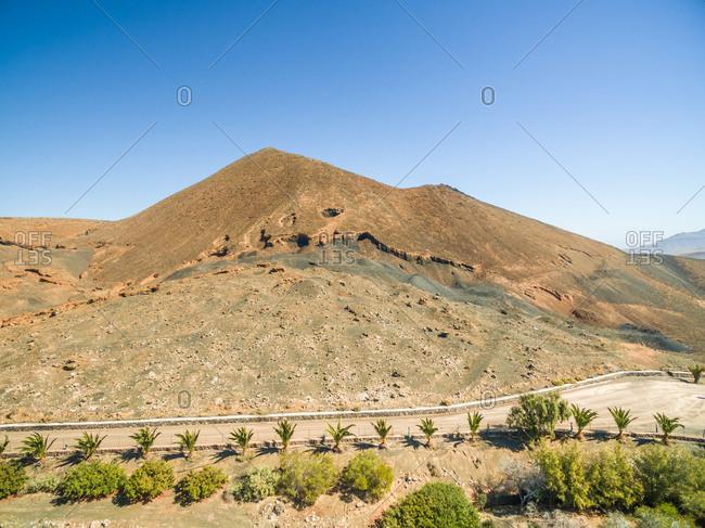 Aerial view of Caldera de Gairia volcano in Fuerteventura, Canary Islands.