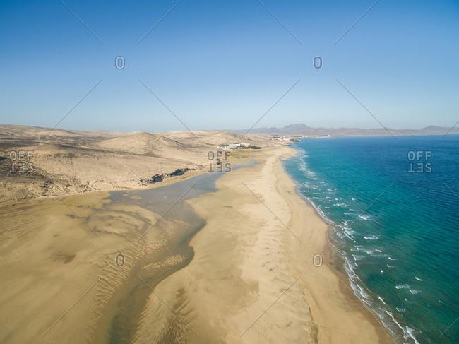 Aerial view of sandy Sotavento Beach in Fuerteventura, Canary Islands.