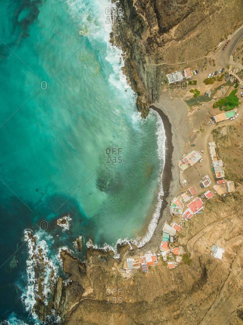 Aerial view of the small village Puertito de Molinos and his hidden beach in Fuerteventura, Canary Islands.