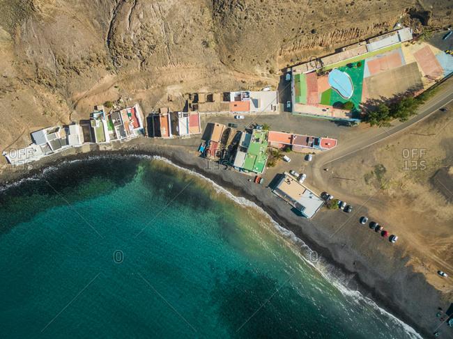 Aerial view of Pozo Negro in Fuerteventura, Canary Islands.