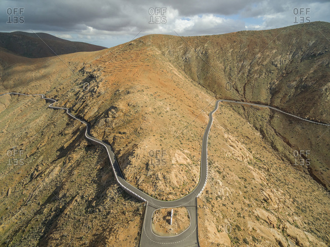 Aerial view of the Mirador Risco de las Penas among Betancuria and Pajara in Fuerteventura, Canary Islands.