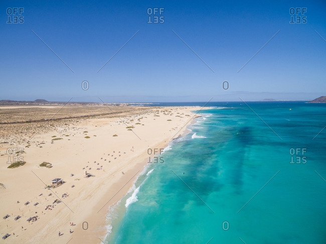 Aerial view of Corralejo's Big Beaches with turquoise sea in Fuerteventura, Canary Islands.