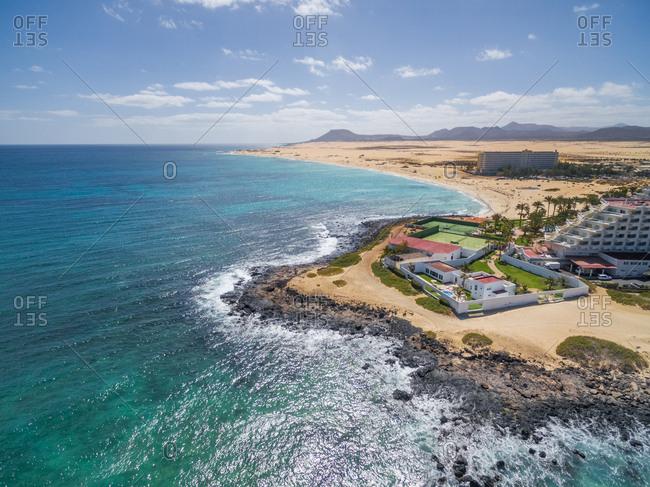 FUERTEVENTURA, CANARY ISLANDS - 27 February 2018 : Aerial view of Bajo Negro Beach Club Riu Oliva Beach Resort in Fuerteventura, Canary Islands.