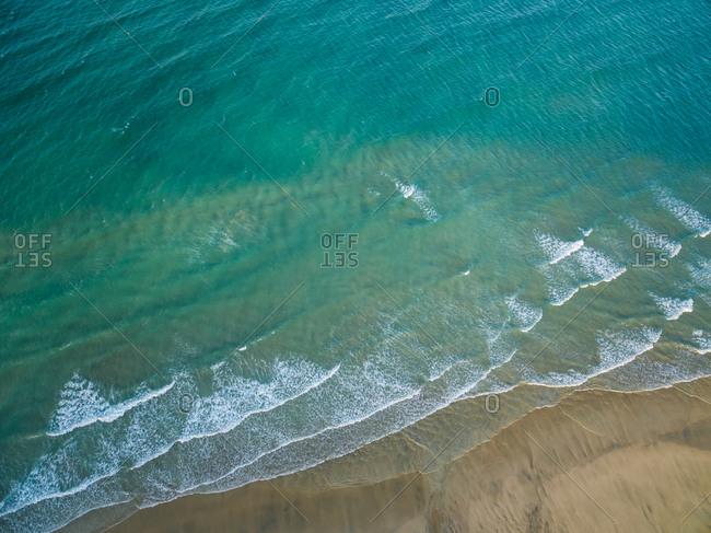 Aerial view of Sotavento lagoon beach in Fuerteventura, Canary Islands.