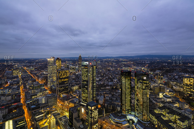 Frankfurt, Germany - February 10, 2015: View from Maintower to financial district- blue hour