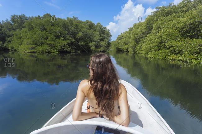 Indonesia- Bali- Lembongan island- woman on a boat trip