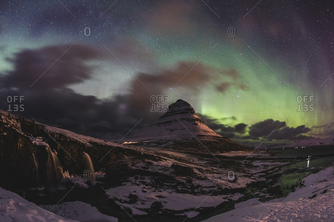 Iceland- Grundarfjordur- Mountain at night with Northern lights