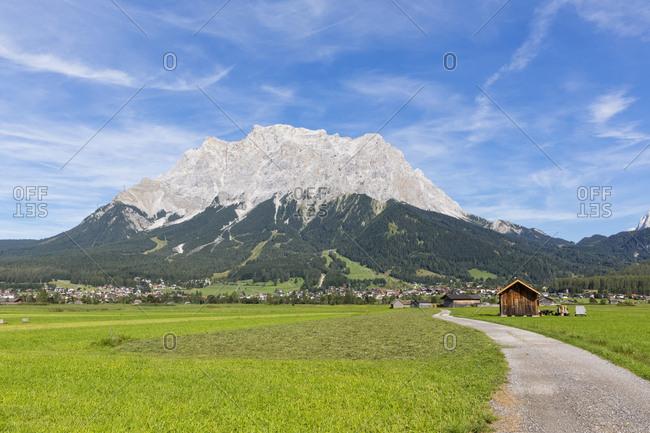 Austria- Tyrol- Lermoos- Ehrwalder Becken- View to Ehrwald and Zugspitze