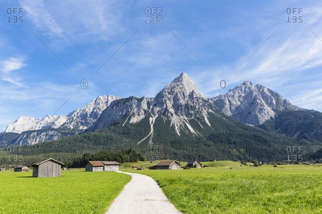 Austria- Tyrol- Lermoos- Ehrwalder Becken- View to Ehrwalder Sonnenspitze- Gruenstein- Ehrwald- Mieminger Kette