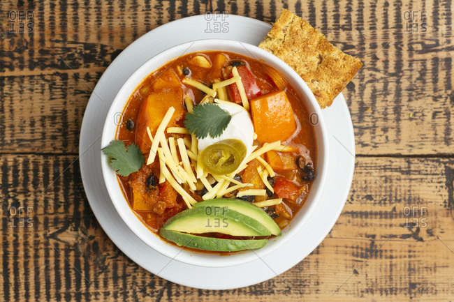 Vegan winter squash chili- served with cornbread.