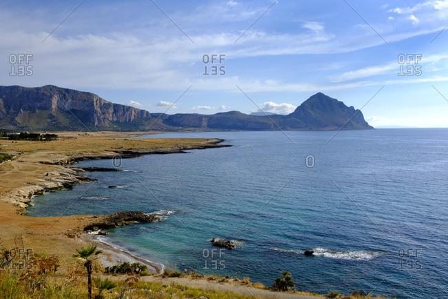 Italy- Sicily- Province of Trapani- San Vito lo Capo- Coast Contrada Salinella with Monte Cofano