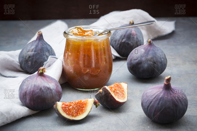 Organic figs and a glass of fig jam