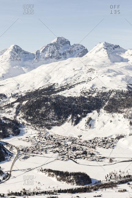 Switzerland- Engadin- St. Moritz seen from above