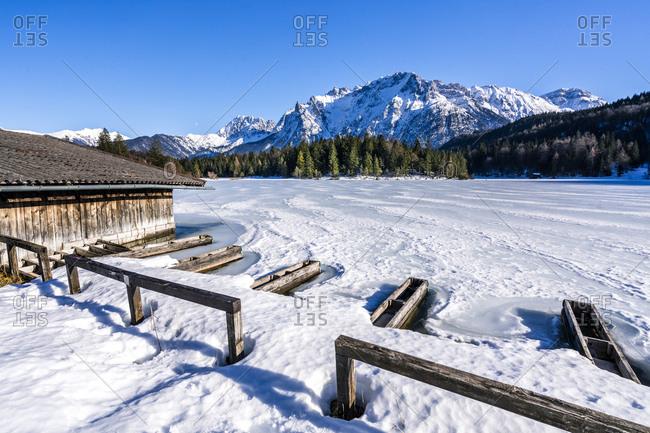 Germany- Bavaria- Upper Bavaria- Garmisch-Partenkirchen- Lautersee- mooring area in winter
