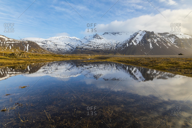 Iceland- Hofn- Mountain reflection in a pond