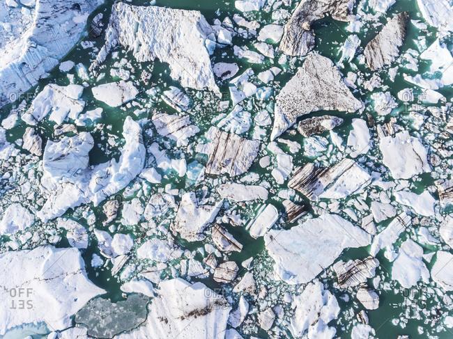 Iceland- Hof- Jokulsarlon lagoon- aerial view