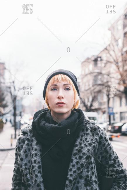 Portrait of a woman wearing a fur coat